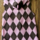 Pink N Brown Argyle Dog Snuggly Hoodie - 4 Szs Available