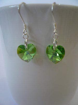Crystal Heart Earrings in Peridot AB