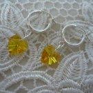 Light Topaz Crystal Heart Earrings