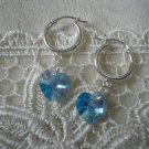 Aquamarine Crystal Heart Earrings