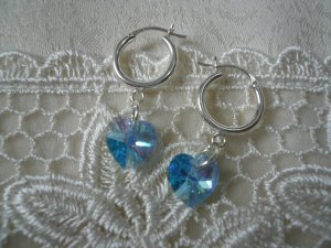 Aquamarine Crystal Heart Earrings