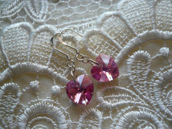 Crystal Heart Earrings in Pink Rose AB