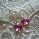 Crystal Heart Earrings in Pink Rose AB