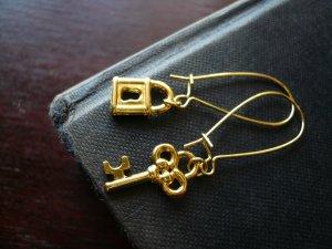 Gold Lock and Key Earrings
