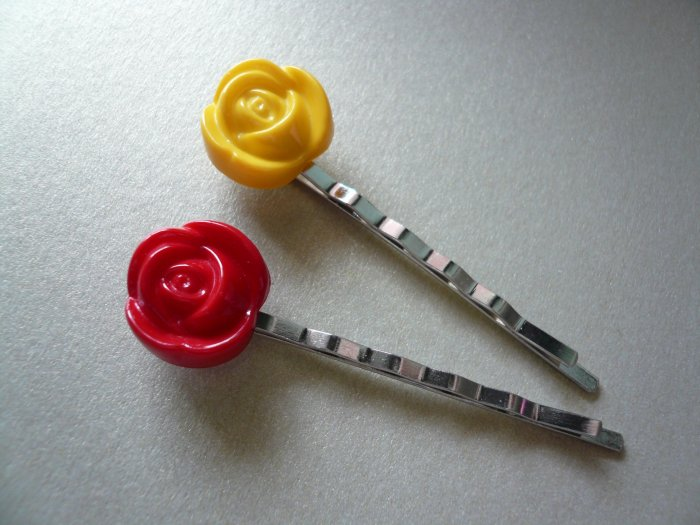 Bright Red and Yellow or in 1 Color Flower Bobby Hairpins