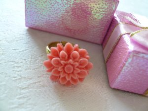 Coral Dahlia Gold Ring