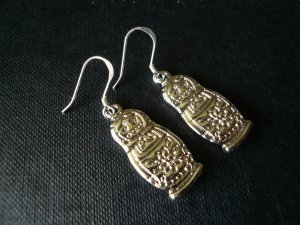 Matryoshka Bright Silver Color Russian Doll Charm Earrings