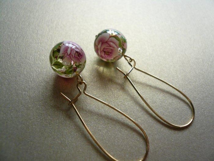 Pink Rose Tensha Flower Earrings