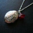Cranberry Bell Flower Oval Locket Necklace