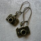 Antique Brass Camera Earrings