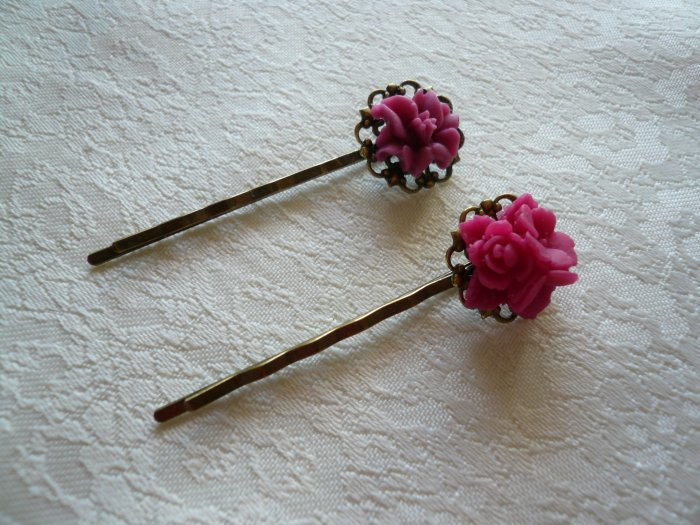 Mulberry Filigree Flower Hairpins