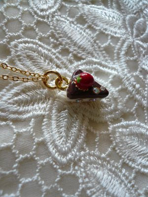 Creamy Chocolate Vanilla Strawberry Cake Necklace