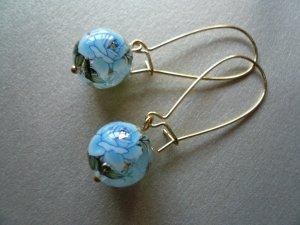 Blue Rose Tensha Flower Earrings