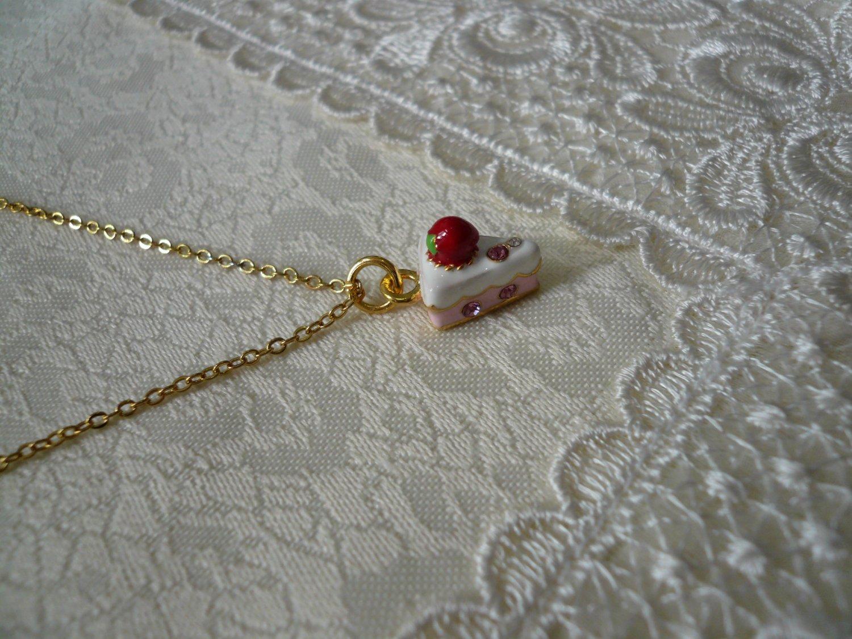 Sweet Strawberry Vanilla Cake Necklace
