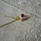 Sweet Strawberry Vanilla Cake Necklace