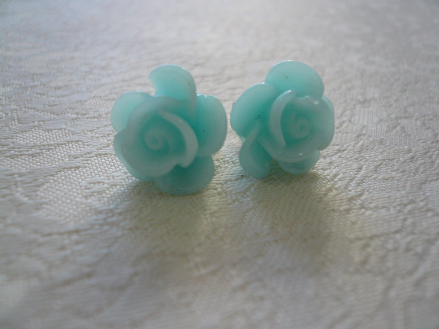 Blue Rose Flower Post Stud Earrings