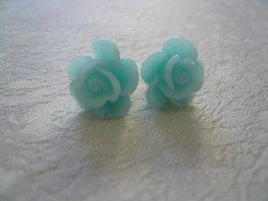Blue Rose Flower Post Stud Earrings