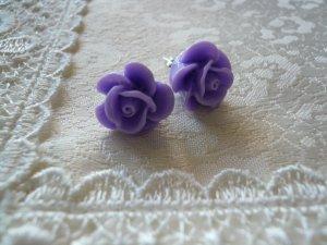 Lavender Rose Flower Post Stud Earrings