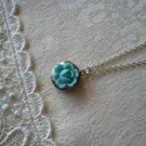 Pastel Blue Gardenia Miniscule Locket Necklace