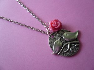 Chickadee Bird & Pink Rose Necklace