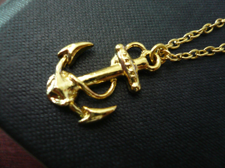 Bon Voyage Gold Sea Anchor Necklace