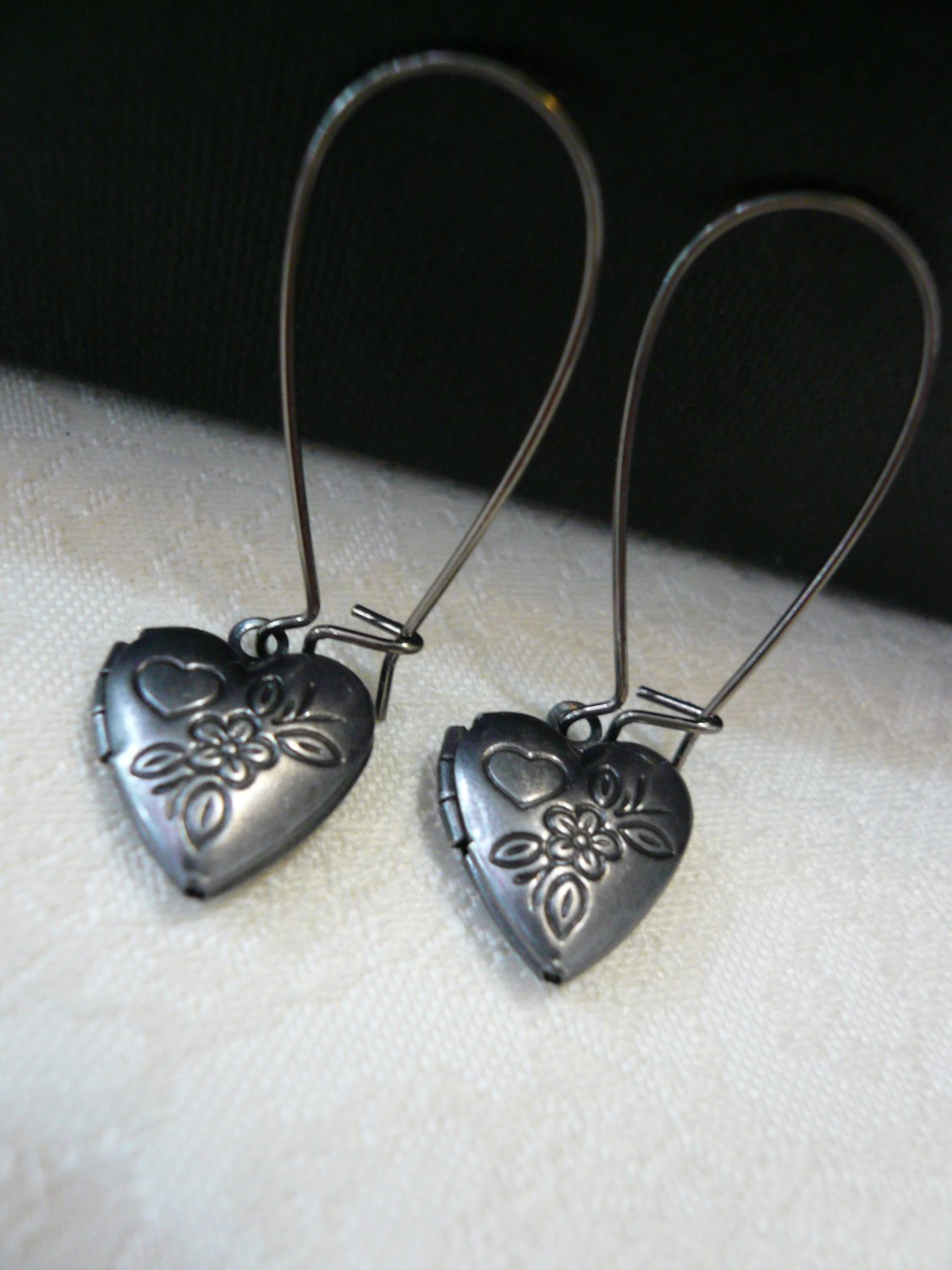Flower Heart Locket Gunmetal Earrings