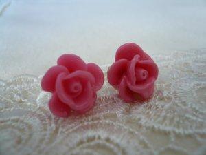 Cerise Pink Rose Flower Post Stud Earrings