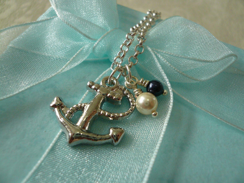 Bon Voyage Sea Anchor & Pearl Necklace