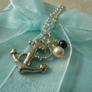 Bon Voyage Sea Anchor & Pearl Necklace