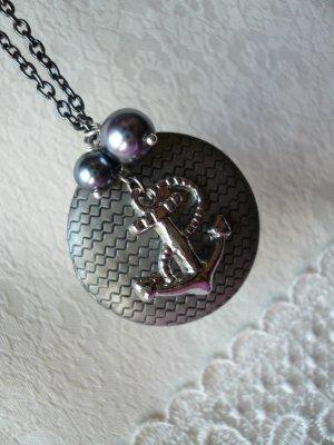 VOYAGE  Antique Silver Round Locket Long Necklace