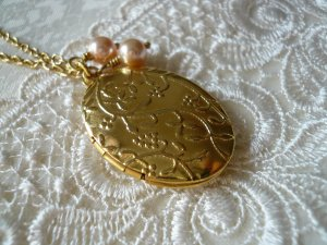 Gold Oval Locket Long Necklace