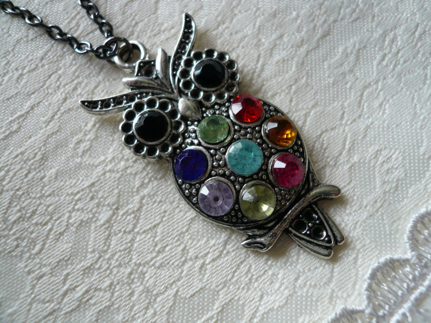 Colorful Owl Long Gunmetal Necklace