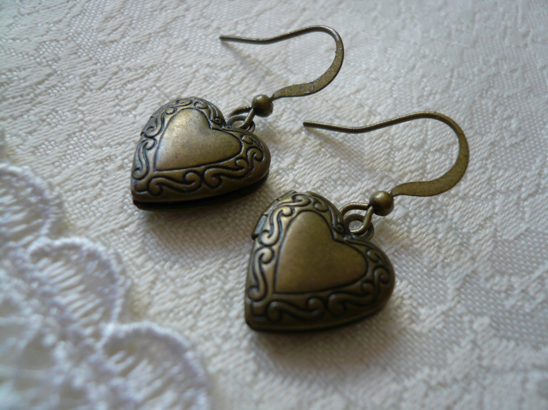 Brass Heart Locket Earrings