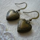 Brass Heart Locket Earrings