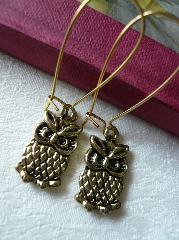 Little Antique Gold Owl Earrings