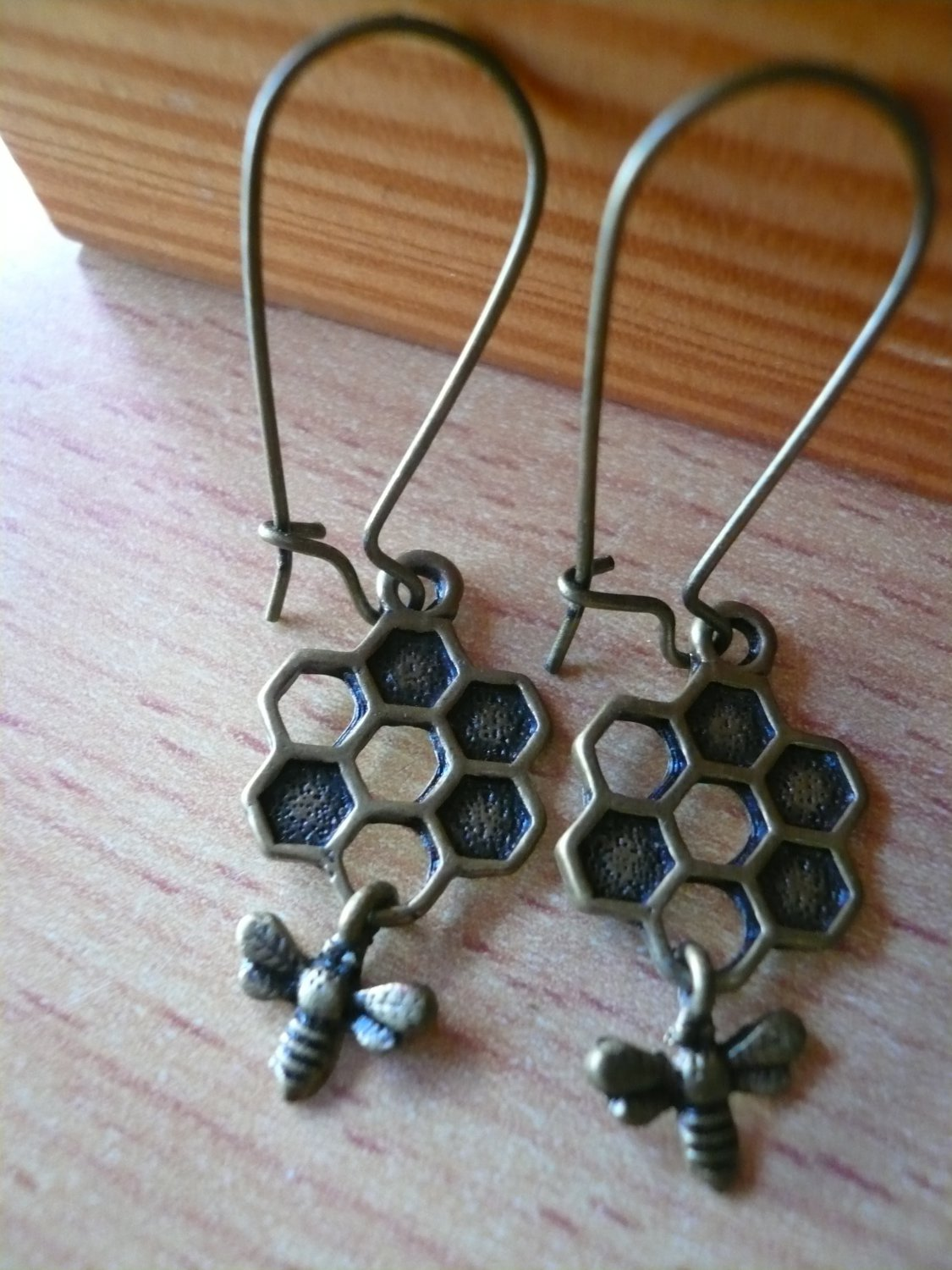 Nectar Honeycomb Bee Earrings