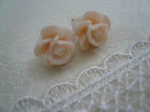Tea Rose Pale Pink Flower Post Stud Earrings