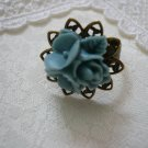 Bluegrey Flower Filigree Ring