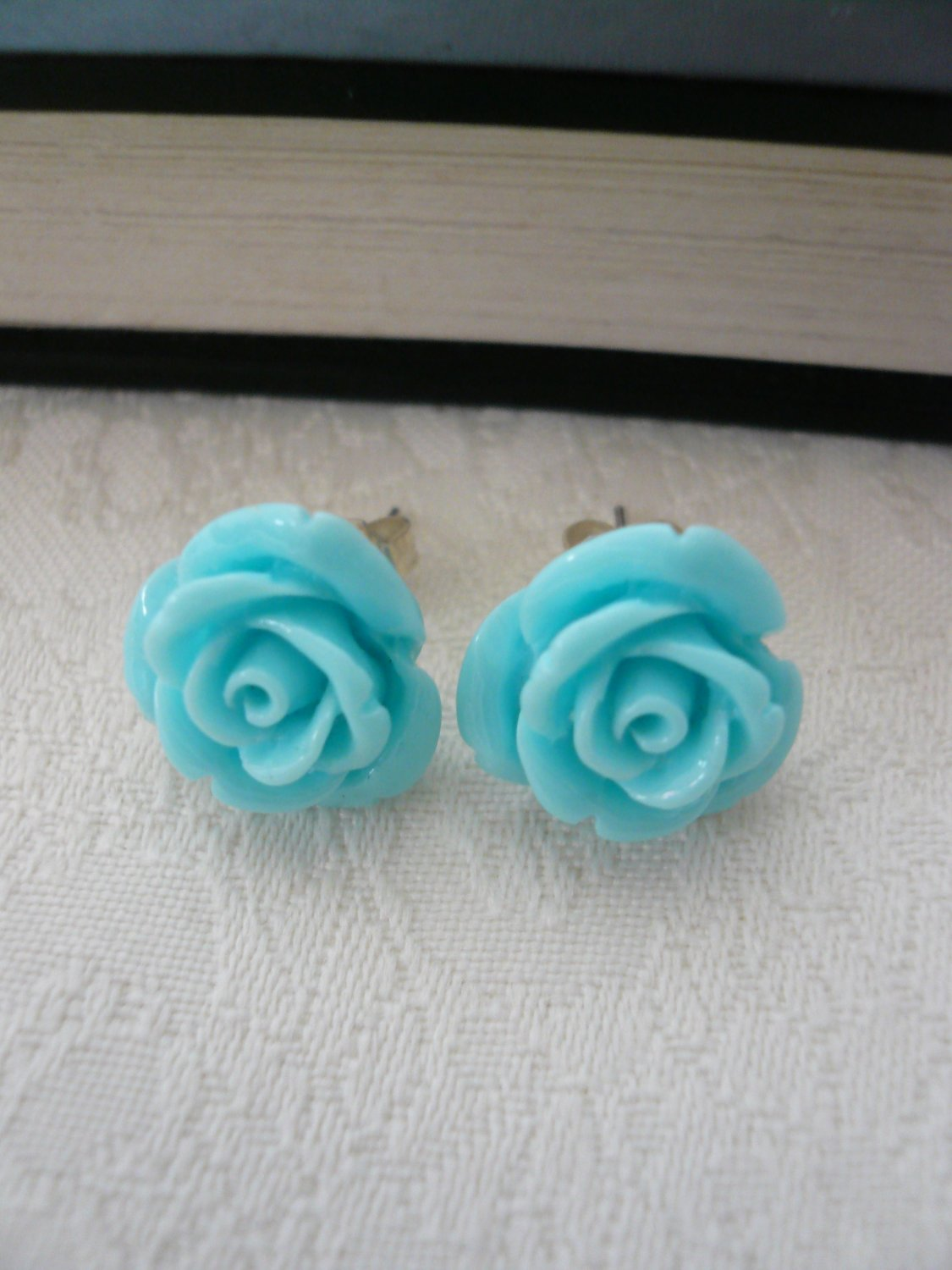 Blue Rose Post Stud Earrings