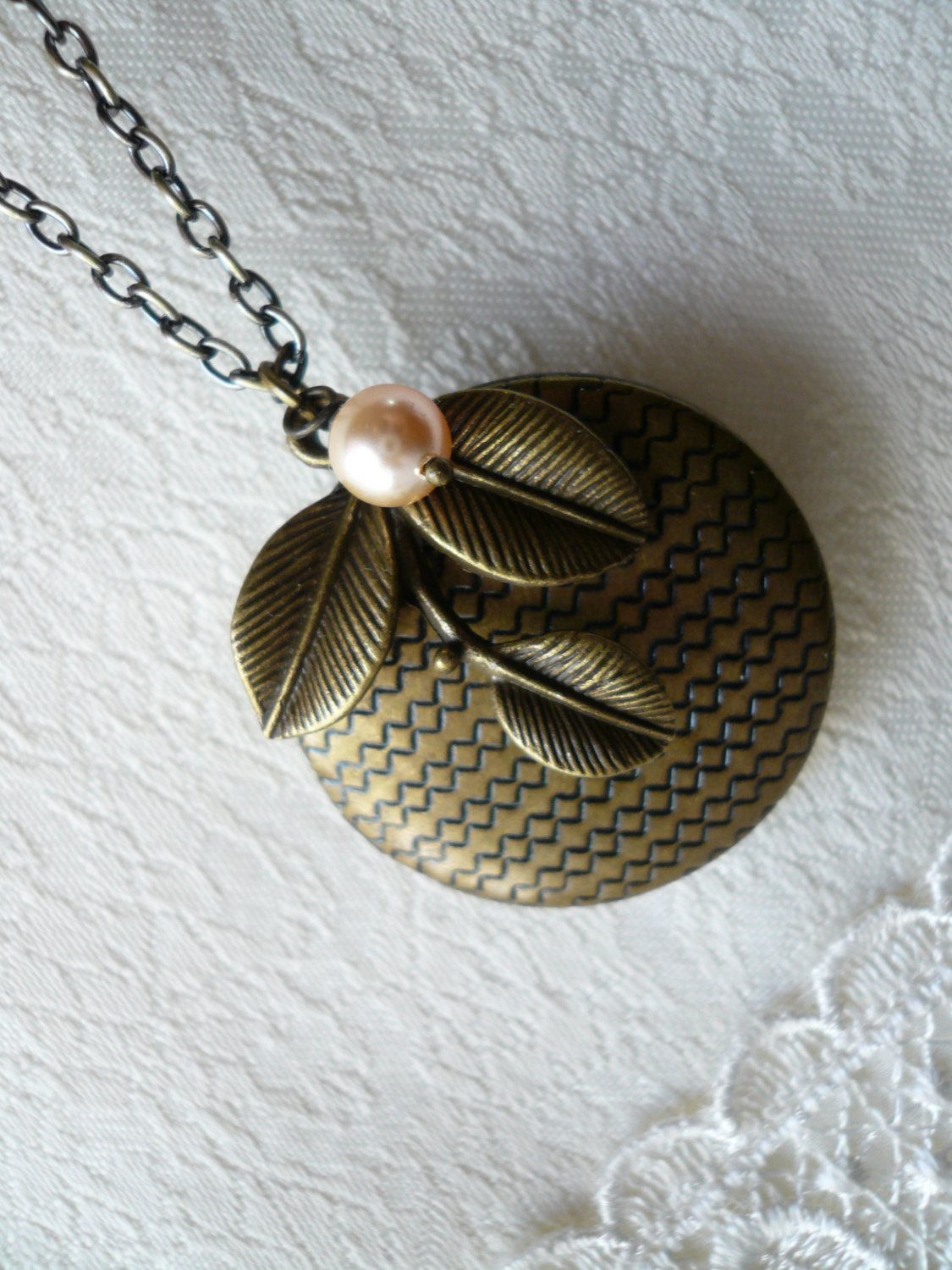 PEACH Brass Foliage Round Locket Long Necklace