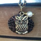 Owl Filigree Locket Long Necklace