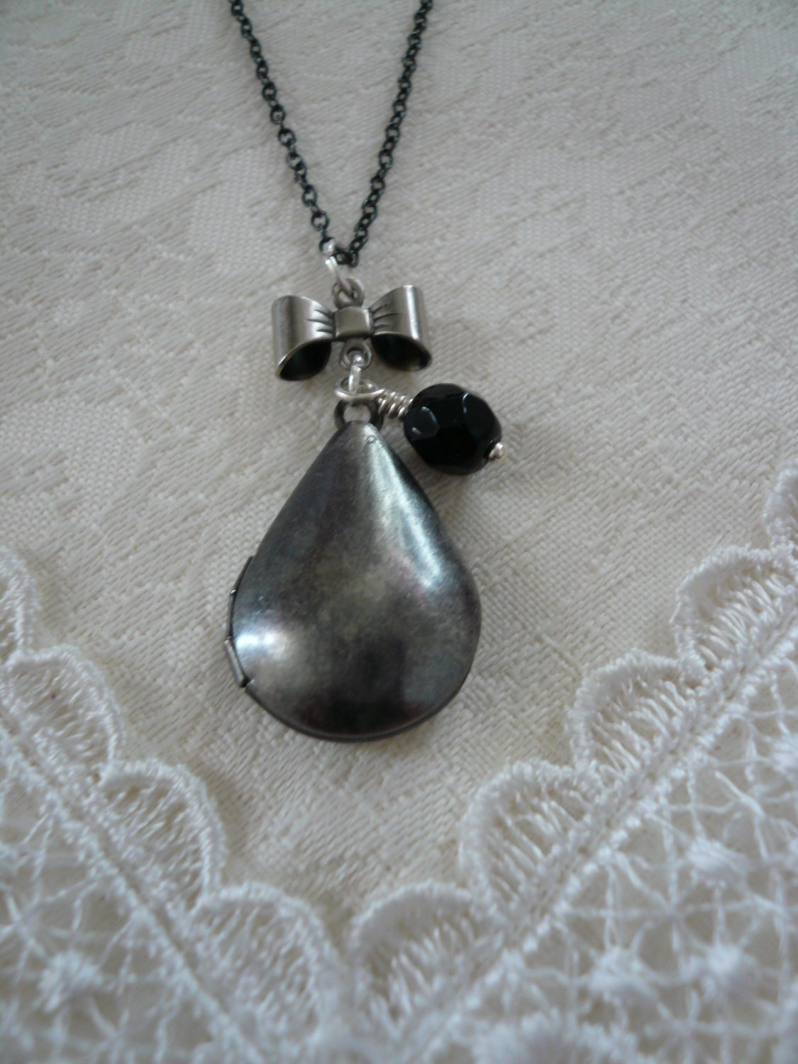 TUXEDO Teardrop Locket Necklace