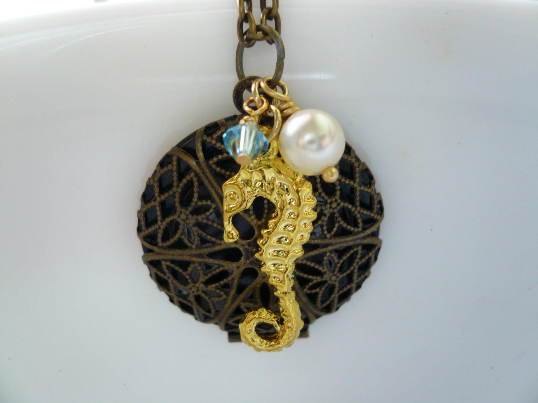 Gold Seahorse Filigree Locket Necklace