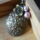 Brass Flower Oval Locket Long Necklace
