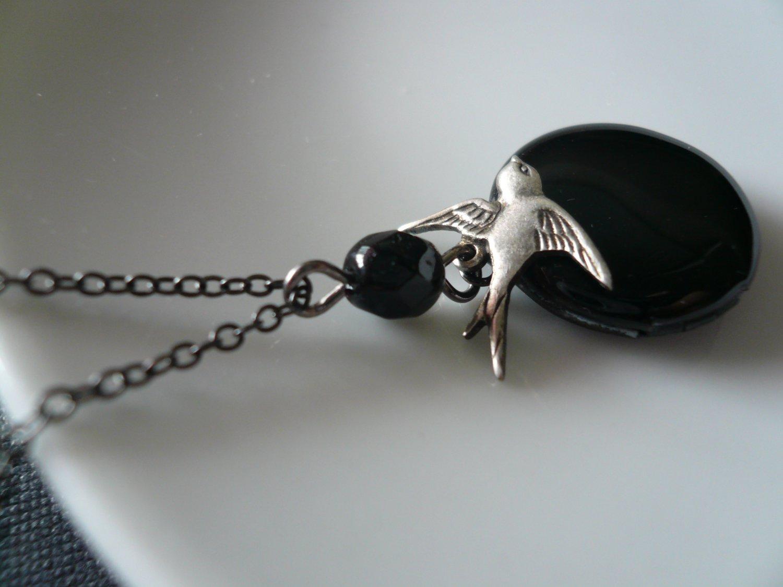 Bird & Black Locket Necklace