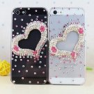 Beatiful Heart Shape Bling Crystal Handmade Mobile Phone Case Cover For Apple iPhone 5
