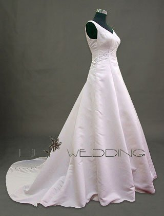 V-Neckline Wedding Dress - Style LWD0057
