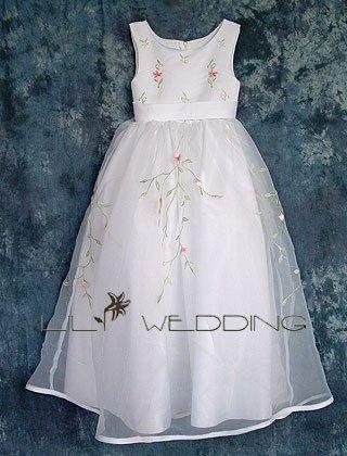 Flower Embroidered Flower Girl Dress - Style LFG0006