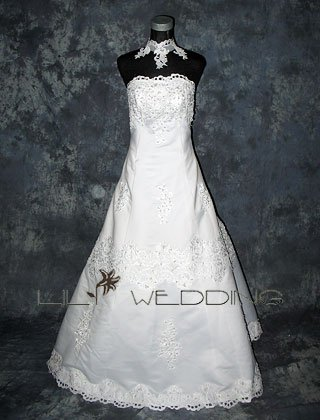 Hand Beaded And Embroidered A-Line Wedding Gown - Style LWD0070