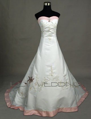 Embroidery And Hand Beading Princess Wedding Gown - Style LWD007